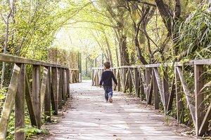 Little boy crossing a bridge