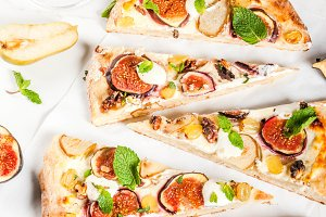 Sweet pizza or fruit focaccia