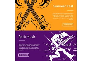 Summer Fest and Rock Music Collection of Banners