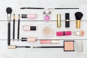 Pink makeup. Flat lay