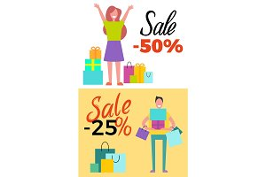 Sale -25% and -50% Poster Set Vector Illustration