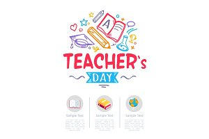 Happy Teachers Day Poster with Icons of Stationery