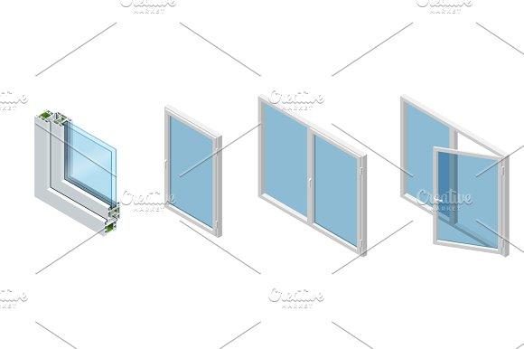 Isometric Cross Section Through A Window Pane PVC Profile Laminated Wood Grain Classic White