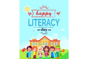 Happy Literacy Day Colorful Vector Illustration