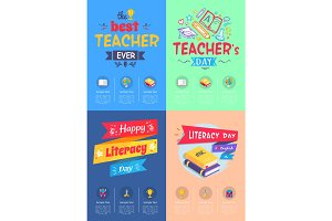 Series of Posters Teachers Day Vector Illustration
