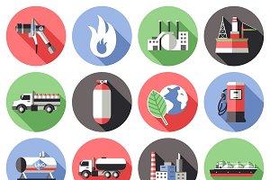 Natural Gas Long Shadow Icons Set