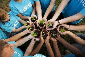Volunteer group of people