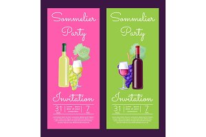 Sommelier Party Invitation on Vector Illustration
