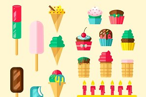 Sweets Cupcakes Icon Set