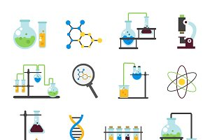 Chemistry Lab Flat Icon Set
