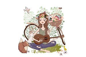 young woman with guitar and bicycle