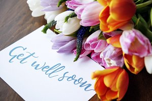 Tulips Flowers Bouquet with card