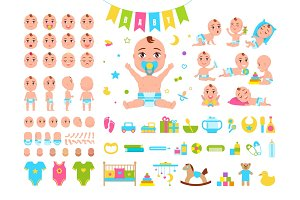 Baby Constructor Icons on Vector Illustration