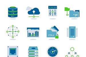 Datacenter Flat Icon Set
