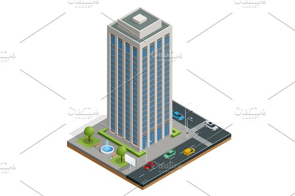 Isometric City Houses Composition With Building And Road Isolated Vector Illustration Collection Of Urban Elements Architecture Home Road Intersection Traffic Light And Cars