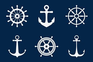 Steering ship wheels & anchors icons