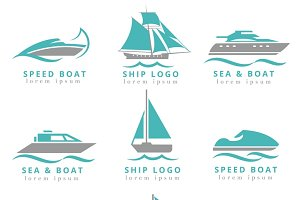Boat logo and yacht label set
