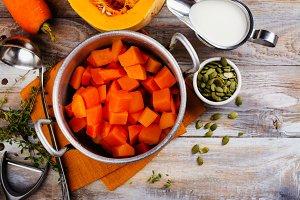 Cooking homemade pumpkin soup