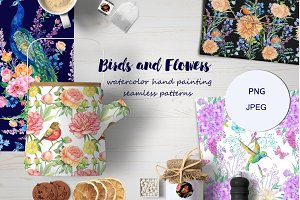 flowers and birds watercolor pattern