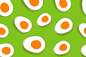 Seamless pattern with cut eggs