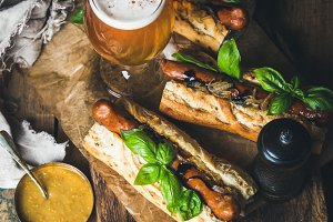 Beer & grilled sausage dogs