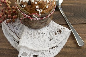 Panettone on wooden background