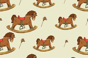 Rocking horse seamless pattern
