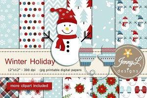 Winter Digital Papers Clipart