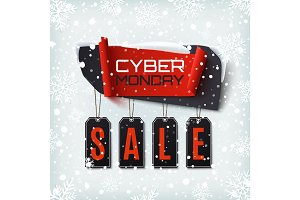 Cyber Monday Sale, abstract banner on winter background.