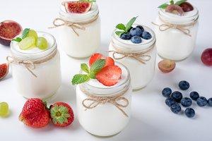 Breakfast with yogurt with fruits