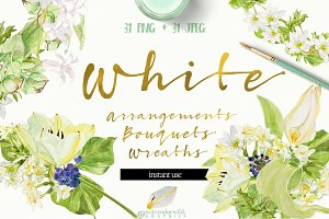 White Bouquets&Wreaths in watercolor
