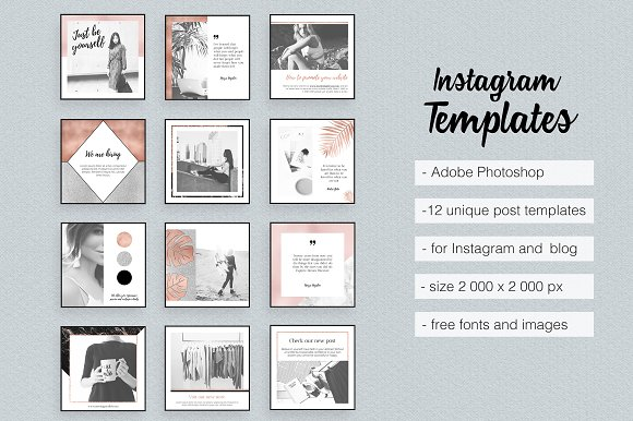 rose gold instagram templates pack instagram templates creative market