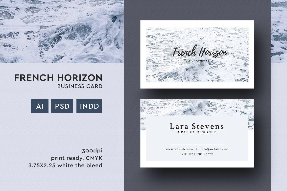 French horizon business card business card templates creative market colourmoves