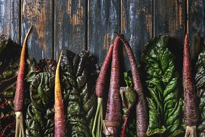Purple carrot with vegetables