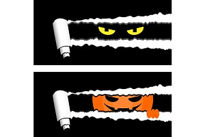 Halloween banners with spooky eyes