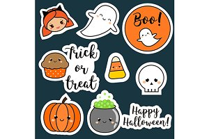 Cute Halloween stickers, icons
