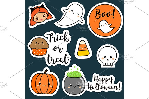 Cute Halloween stickers, icons ~ Icons ~ Creative Market