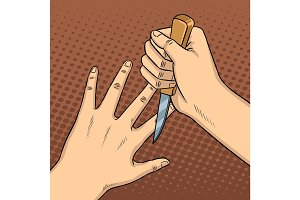 Knife game between fingers pop art vector