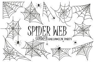 Spider web silhouette vector cobweb