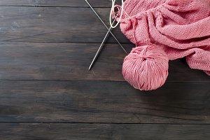 Pink knitting threads