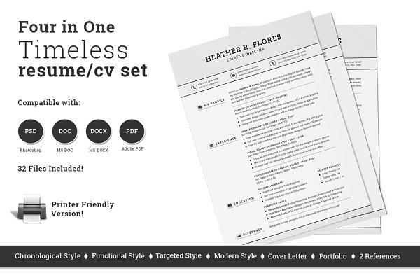 4 in 1 Timeless Resume CV Set