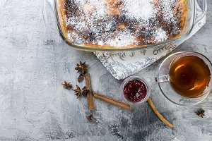 Cottage cheese casserole with tea