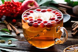 Healthy warming ginger cranberry tea