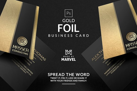 Gold foil business card business card templates creative market colourmoves