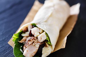 Chicken, spinach and mushroom wrap