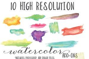 Ten High Res + ABR Watercolors