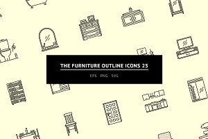 The Furniture Outline Icons 25