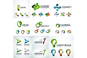 Set of abstract geometric web icons, logos