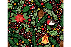 Cute hand drawn winter holidays seamless pattern