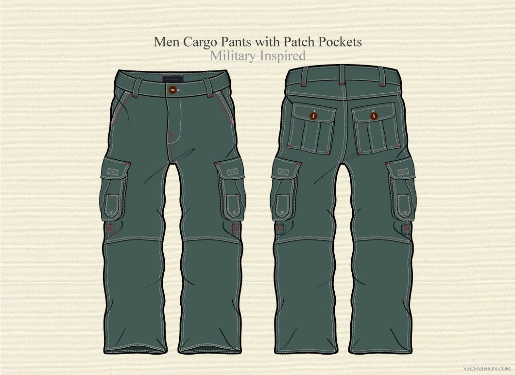 men cargo pants vector template illustrations creative market